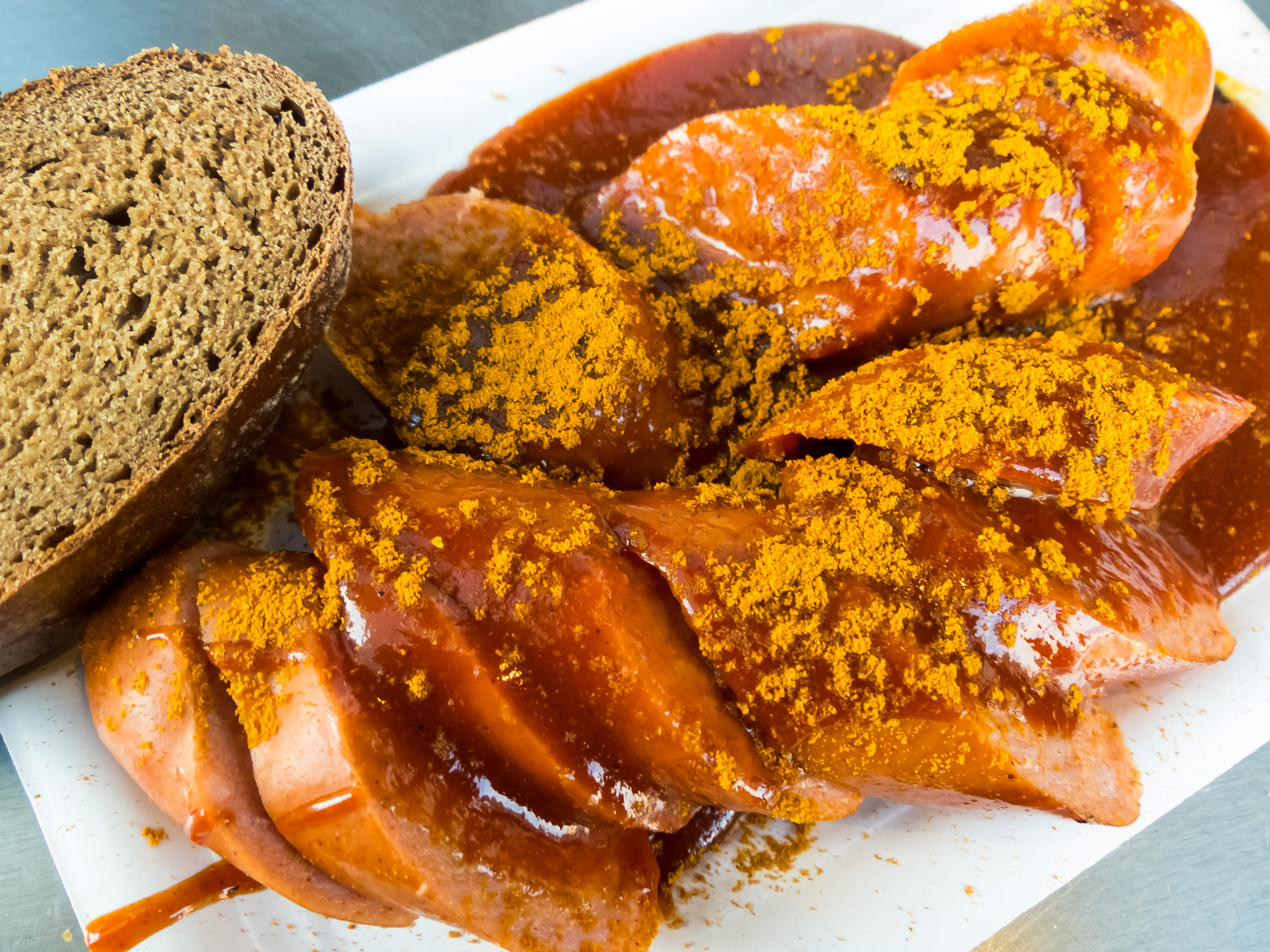 German sausages with curry