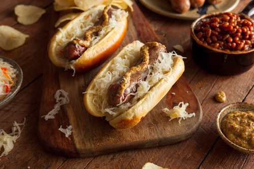 Beer Bratwurst with Sauerkraut and Spicy Mustard